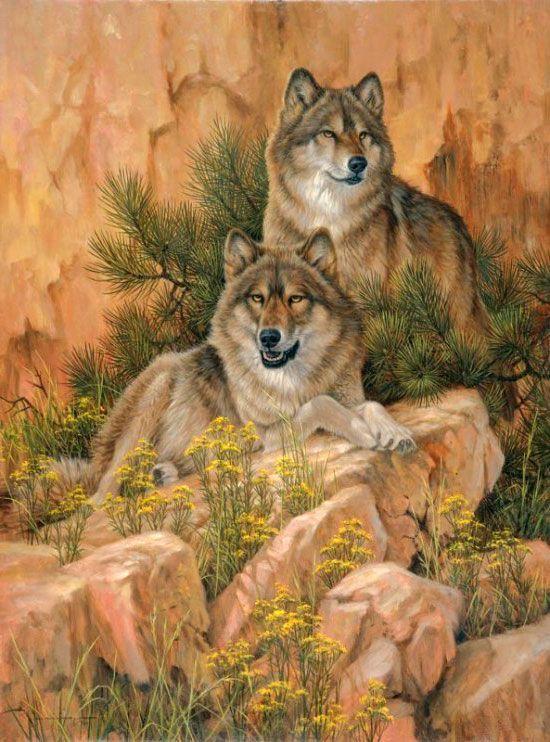 Вышивка волки с волчатами