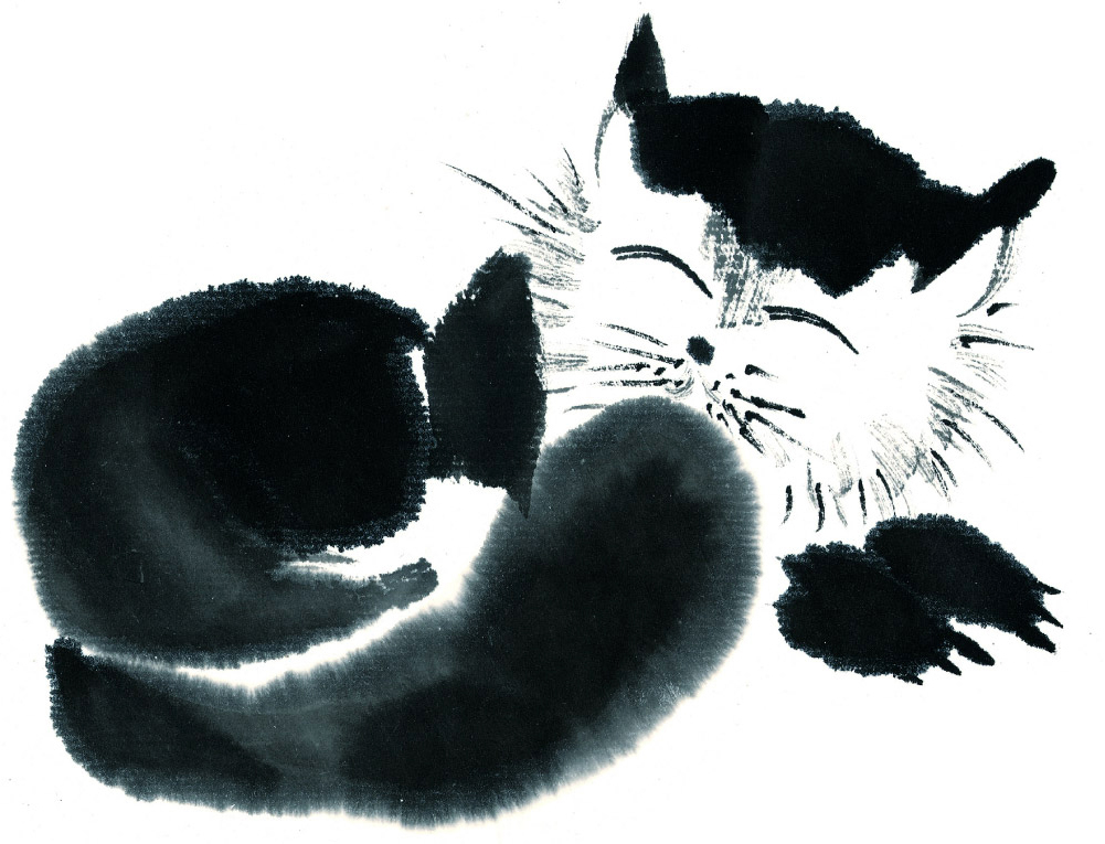 кошка нарисованная картинка